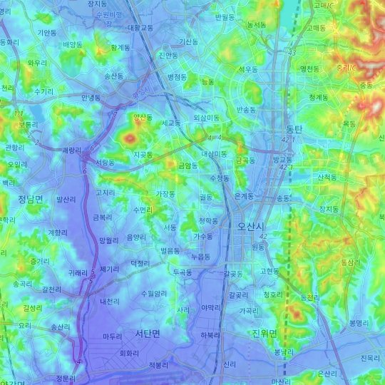 Osan-si topographic map, relief map, elevations map