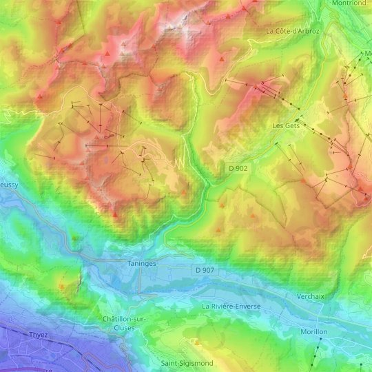 Taninges topographic map, relief map, elevations map