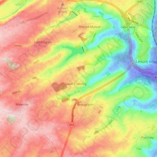 Cransley topographic map, relief map, elevations map
