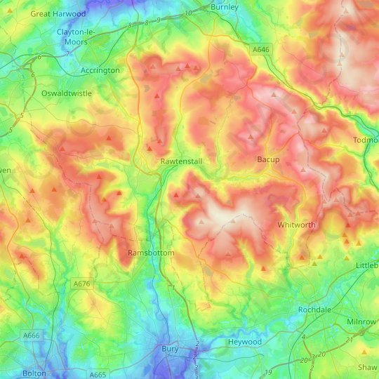 Rossendale topographic map, relief map, elevations map