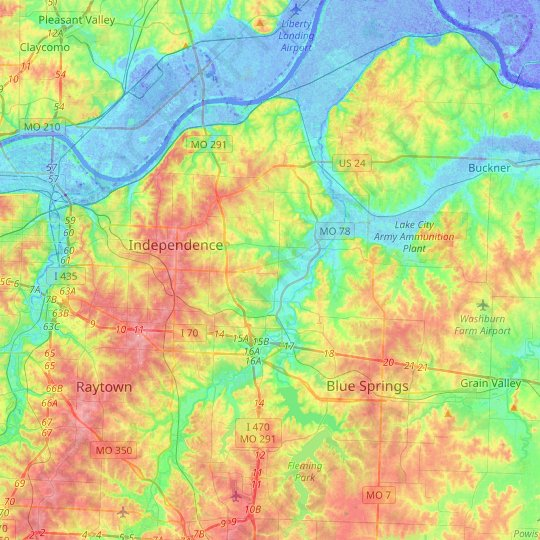 Independence topographic map, relief map, elevations map
