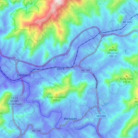 Sylva topographic map, relief map, elevations map