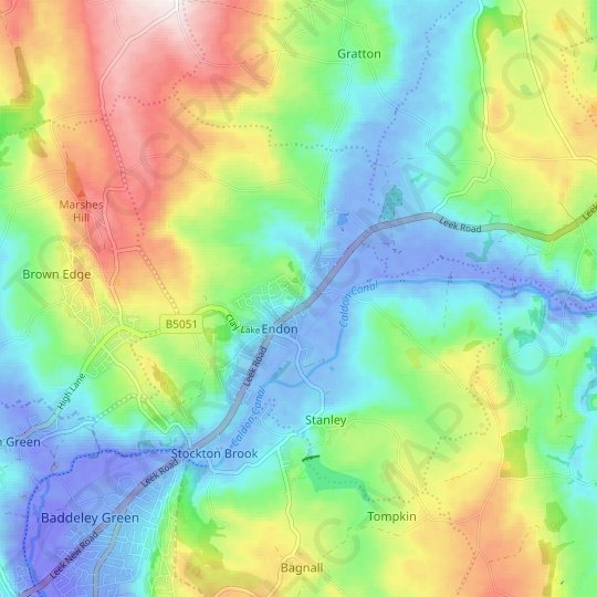 Endon and Stanley topographic map, relief map, elevations map