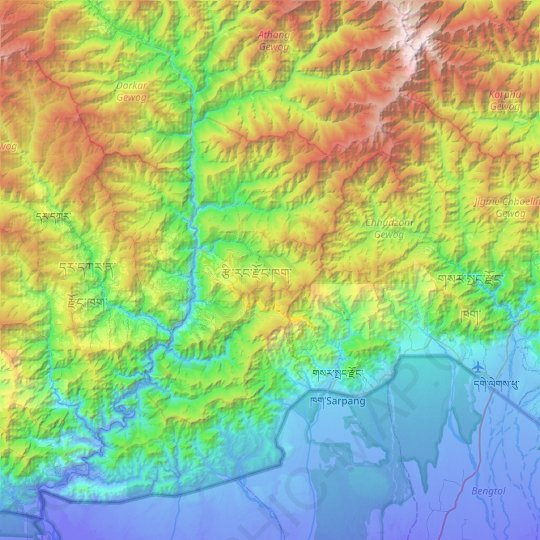Tsirang District topographic map, elevation, relief