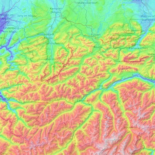 Lechtal Alps topographic map, relief map, elevations map