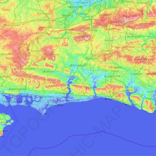 West Sussex topographic map, relief map, elevations map