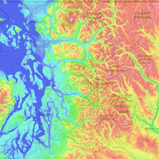 Snohomish County topographic map, relief map, elevations map