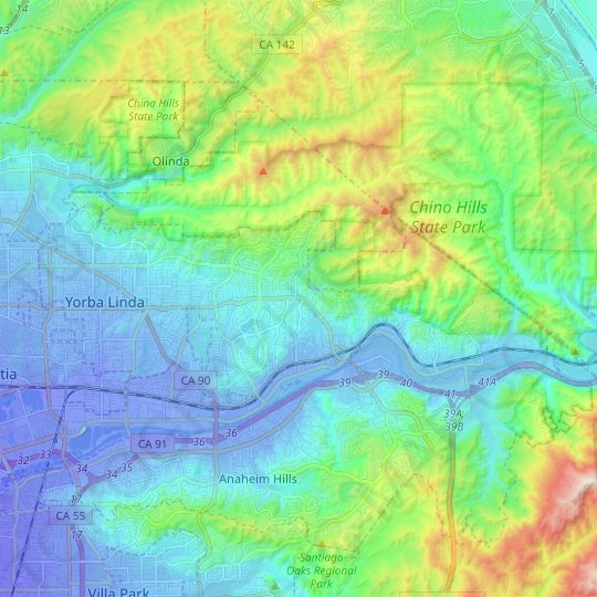 Yorba Linda topographic map, relief map, elevations map