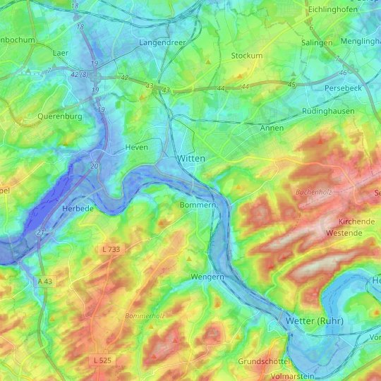 Witten topographic map, relief map, elevations map
