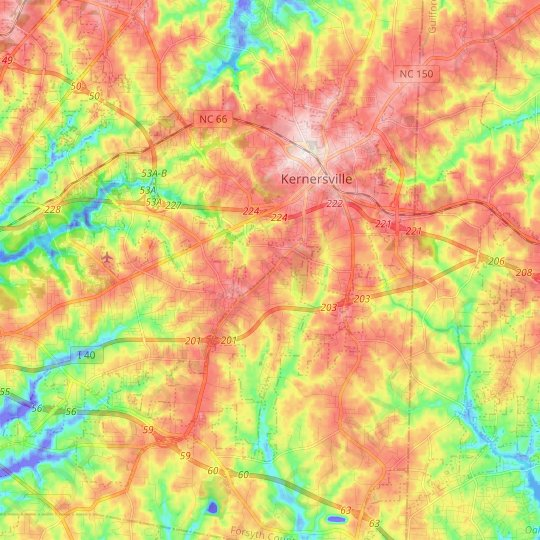 Kernersville topographic map, elevation, relief