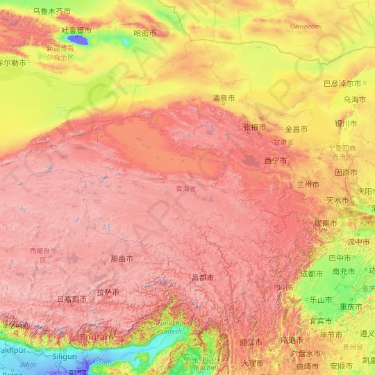 Qinghai topographic map, relief map, elevations map