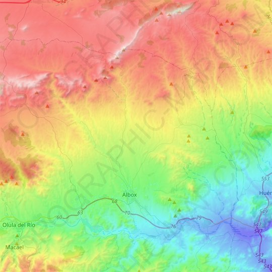 Albox topographic map, relief map, elevations map