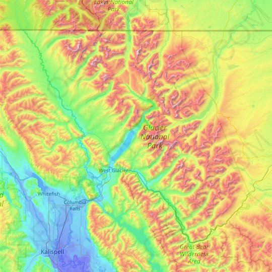topographic map of glacier national park Glacier National Park Topographic Map Elevation Relief