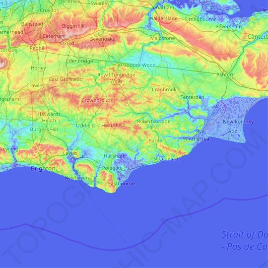 East Sussex topographic map, relief map, elevations map