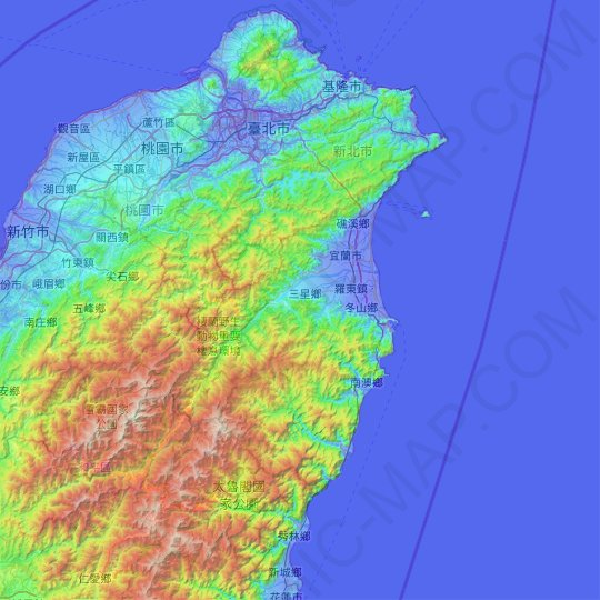 Yilan County topographic map, relief map, elevations map