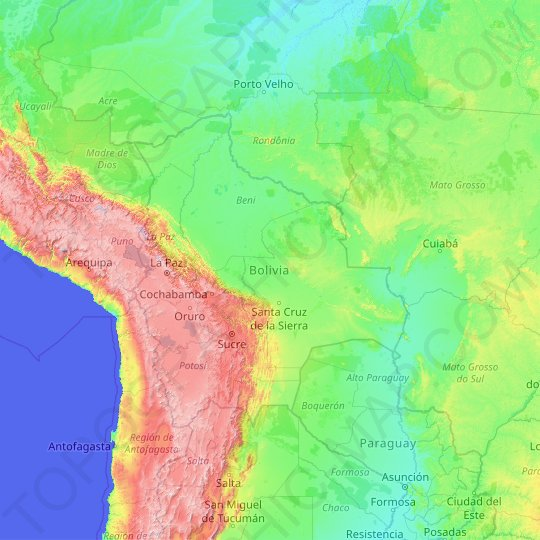 Bolivia topographic map, relief map, elevations map