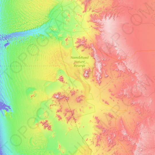 NamibRand Nature Reserve topographic map, elevation, relief