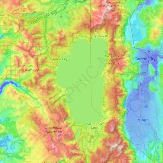 Lake Tahoe topographic map, elevation, relief