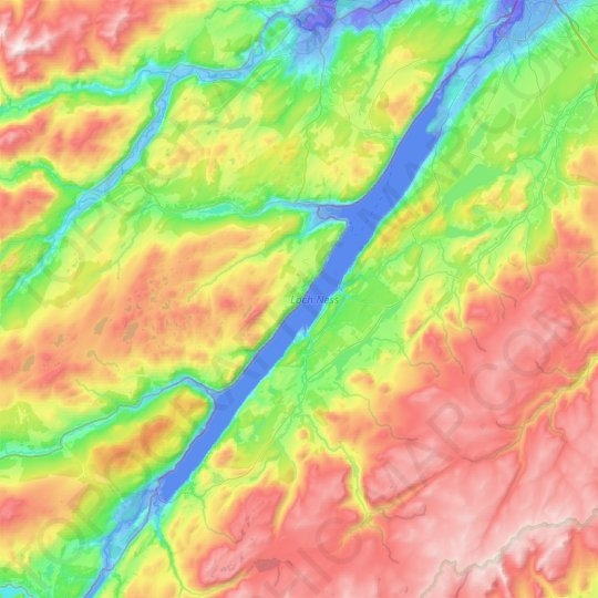 Loch Ness topographic map, elevation, relief