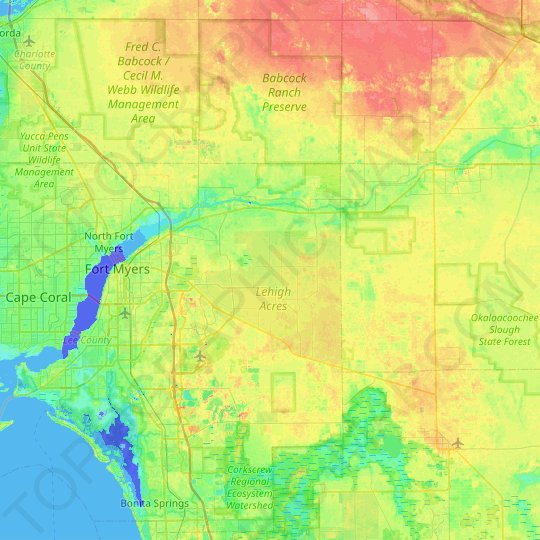 Caloosahatchee River topographic map, elevation, relief