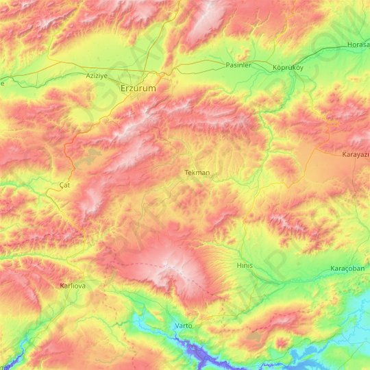 Tekman topographic map, elevation, relief