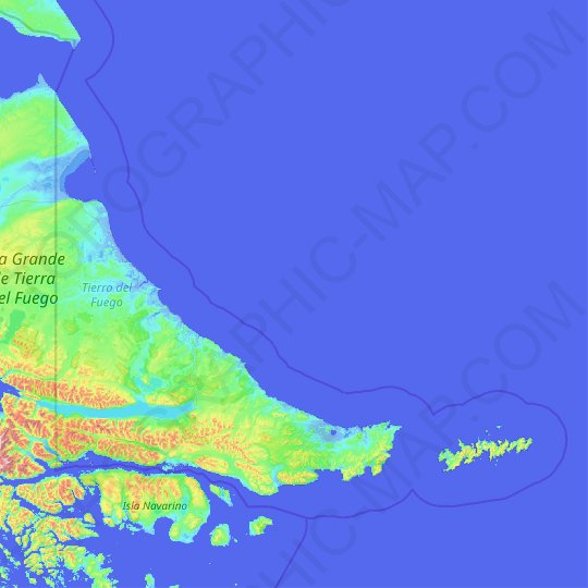 Tierra del Fuego Province topographic map, relief map, elevations map