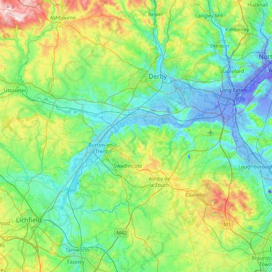 South Derbyshire topographic map, relief map, elevations map
