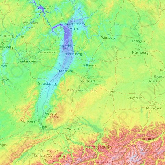 Baden-Württemberg topographic map, elevation, relief
