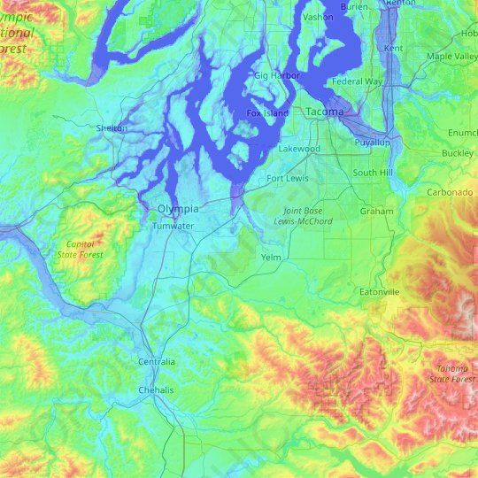 Thurston County topographic map, elevation, relief