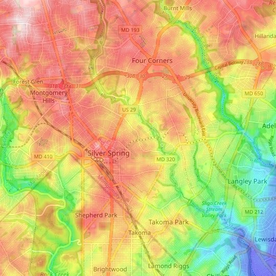 Silver Spring topographic map, relief map, elevations map