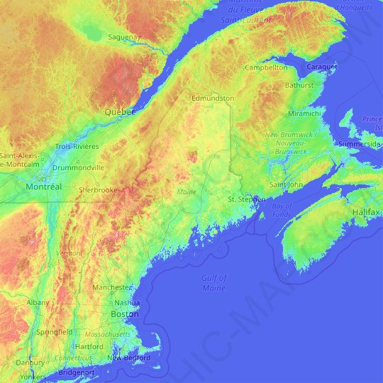 Topographical Map Of Maine Maine topographic map, elevation, relief
