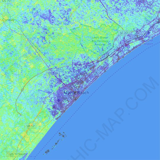Myrtle Beach topographic map, relief map, elevations map