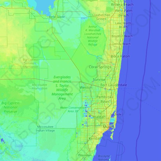 Broward County topographic map, relief map, elevations map