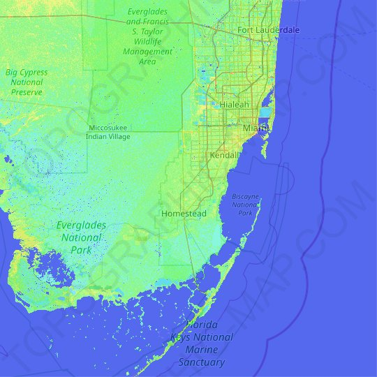 miami-dade county topographic map, elevation, relief