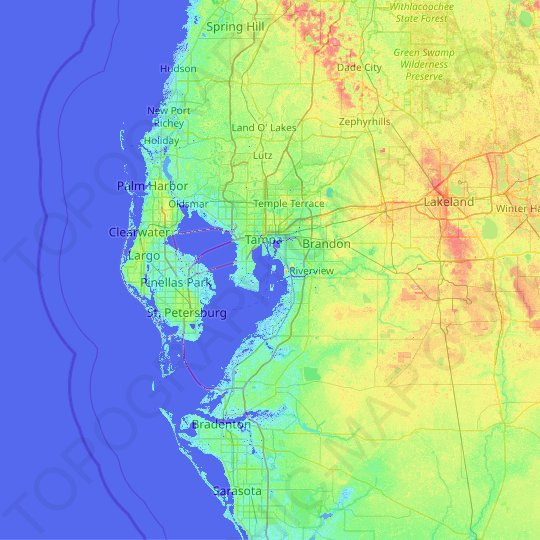 Hillsborough County topographic map, elevation, relief