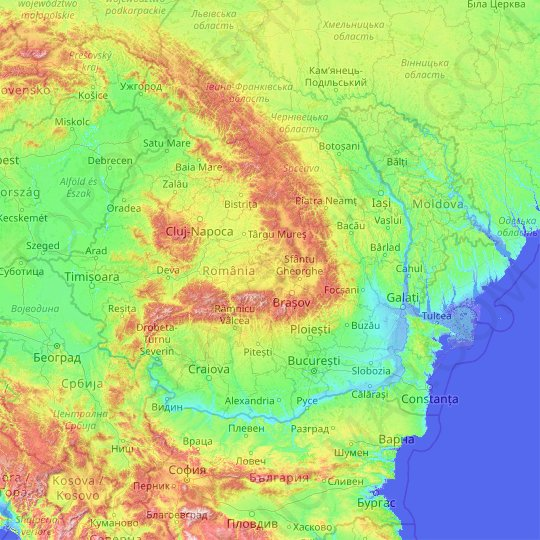 Romania topographic map, relief map, elevations map