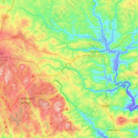 River Inny topographic map, elevation, relief