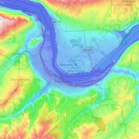 The Dalles topographic map, elevation, relief
