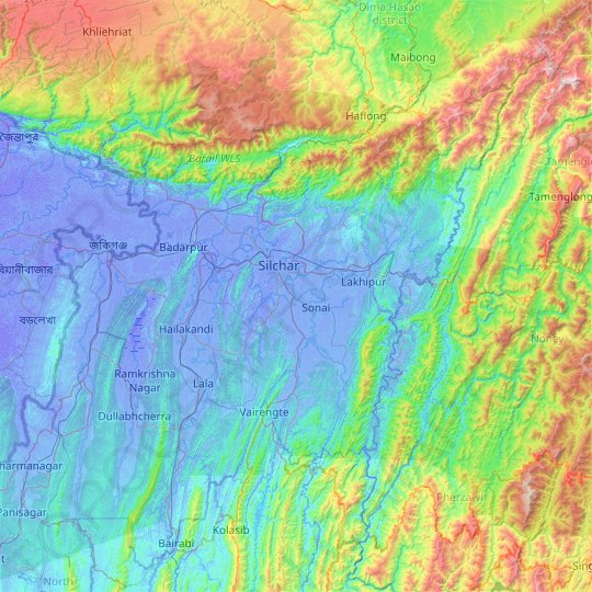 Cachar topographic map, elevation, relief