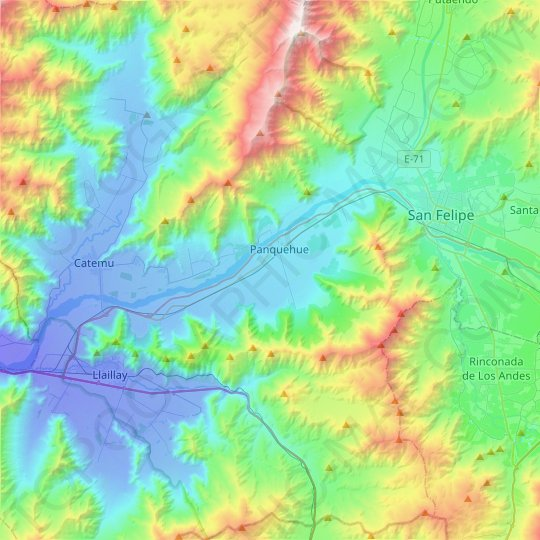 Panquehue topographic map, relief map, elevations map