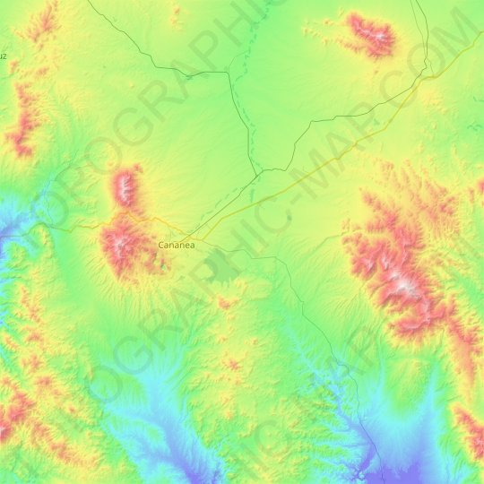 Cananea topographic map, relief map, elevations map