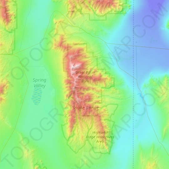 Snake Range topographic map, relief, elevation