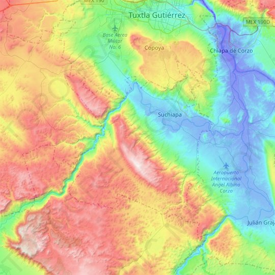 Suchiapa topographic map, relief map, elevations map