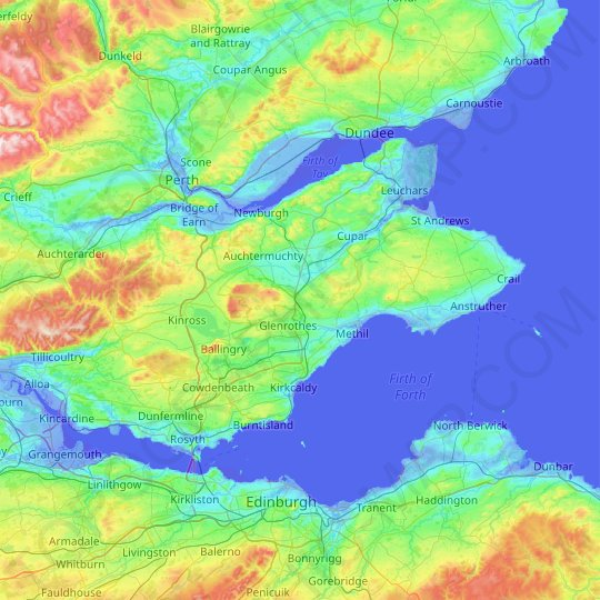 Fife topographic map, relief map, elevations map
