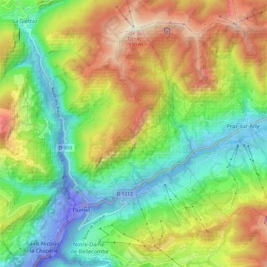 Flumet topographic map, elevation, relief