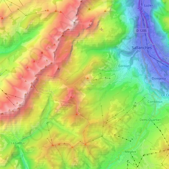 Cordon topographic map, relief map, elevations map