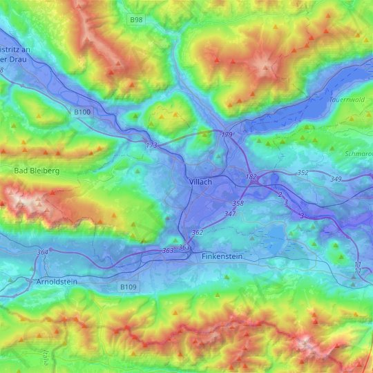 Villach topographic map, relief map, elevations map