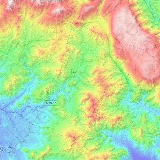 Minatitlán topographic map, relief map, elevations map