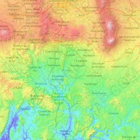 Morelos topographic map, relief map, elevations map