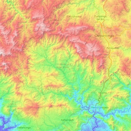 Chilpancingo de los Bravo topographic map, relief map, elevations map